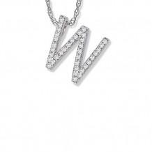 Lau International 14K White Gold Diamond Initial W Pendant