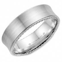 CrownRing 14k White Gold Rope 7mm Wedding band - WB-008R7W