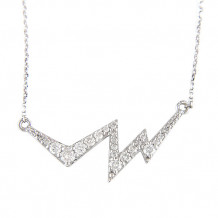 Lau International 14k White Gold Diamond Heartbeat Necklace