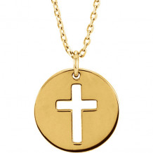 Stuller 14k Yellow Gold Pierced Cross Disc Necklace