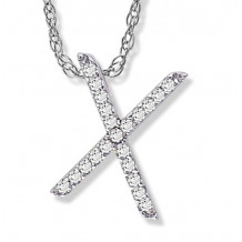 Lau International 14k White Gold Diamond Initial X Pendant