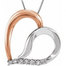 """14K Rose Gold-Plated Sterling Silver .02 CTW Diamond Heart 18"""" Necklace"""