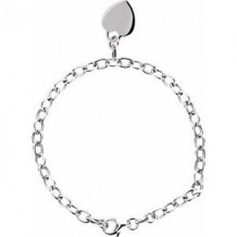 """Sterling Silver Rolo 7.5"""" Bracelet with Heart Charm"""