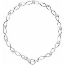 "14K White 1/8 CTW Diamond 7"" Link Bracelet"