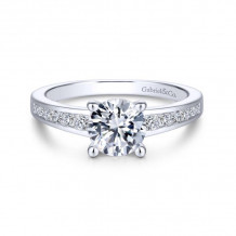 Gabriel & Co. 14k White Gold Contemporary Straight Diamond Engagement Ring - ER14400R4W44JJ