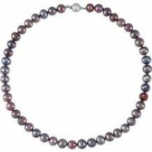 """Sterling Silver Black Freshwater Cultured Pearl 18"""" Necklace"""