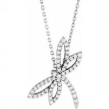 "14K White 1/3 CTW Diamond Dragonfly 16"" Necklace"