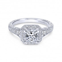 Gabriel & Co. 14k White Gold Victorian Halo Diamond Engagement Ring - ER11793S4W44JJ