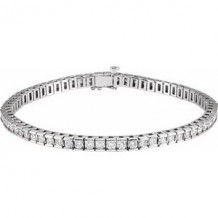"14K White 4 CTW Diamond Line 7 1/4"" Bracelet"
