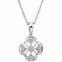 """Sterling Silver .03 CTW Diamond 18"""" Necklace"""