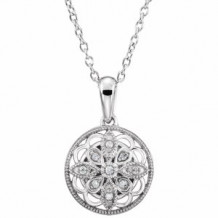 """Sterling Silver .05 CTW Diamond 18"""" Necklace"""