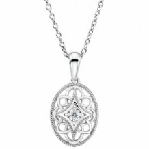 """Sterling Silver .03 CT Diamond 18"""" Necklace"""