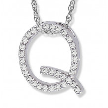 Lau International 14k White Gold Diamond Initial Q Pendant