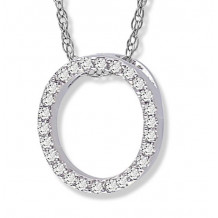Lau International 14k White Gold Diamond Initial O Pendant