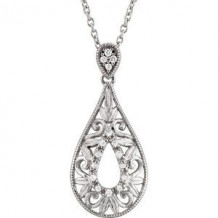 """Sterling Silver 1/10 CTW Diamond 18"""" Necklace"""
