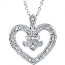 """Sterling Silver .06 CTW Diamond Heart 18"""" Necklace"""