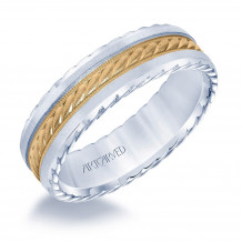 14k Two Tone Gold 6.5mm Mens Fancy Wedding Band