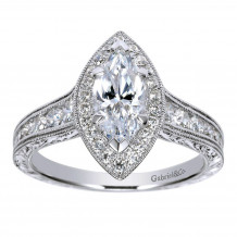 Gabriel & Co Halo Semi Mount Engagement Ring