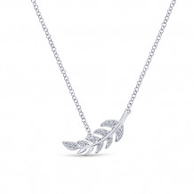 Gabriel & Co. 14k White Gold Leaf Design Diamond Necklace