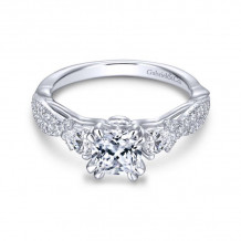 Gabriel & Co. 14k White Gold Contemporary 3 Stone Diamond Engagement Ring - ER13900C4W44JJ