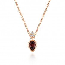 Gabriel 14K Rose Gold Gem Drops Garnet Necklace NK5751K45GN