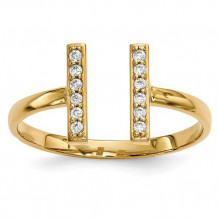 Quality Gold 14k Yellow Gold Diamond Double Bar Ring