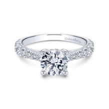 Gabriel & Co. 14k White Gold Contemporary Straight Diamond Engagement Ring - ER12292R4W44JJ