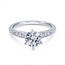 Gabriel & Co. 14k White Gold Victorian Straight Diamond Engagement Ring - ER11827R4W44JJ