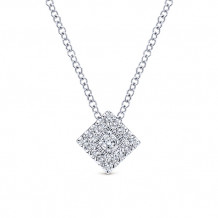 Gabriel & Co. 14k White Gold Square Shape Diamond Necklace