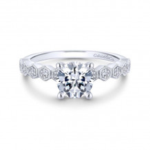 Gabriel & Co. 14k White Gold Victorian Straight Diamond Engagement Ring - ER14429R4W44JJ