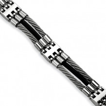 Chisel Stainless Steel Wire With Black Rubber 8.75in Bracelet