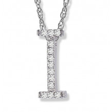 Lau International 14k White Gold Diamond Initial I Pendant