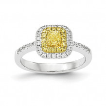 Quality Gold 14k Two-Tone Fancy Yellow Diamond Ring