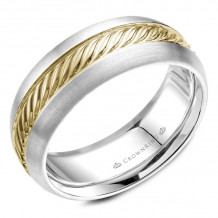 CrownRing 14k Yellow Gold Rope 8mm Wedding band - WB-060R8YW