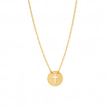 Midas 14k Yellow Gold Mini Disc Cross Necklace