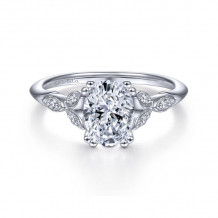 Gabriel & Co. 14k White Gold Victorian Straight Diamond Engagement Ring - ER11721O4W44JJ
