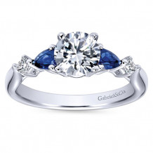 Gabriel & Co 14k White Gold Round 3 Stones Diamond & Sapphire Engagement Ring
