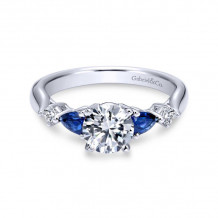 Gabriel & Co. 14k White Gold Contemporary 3 Stone Diamond & Gemstone Engagement Ring - ER6002W44SA