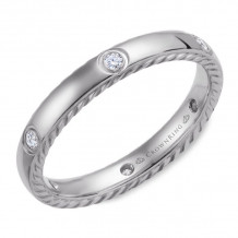 CrownRing 14k White Gold Diamond Rope 3mm Wedding band - WB-016RD3W