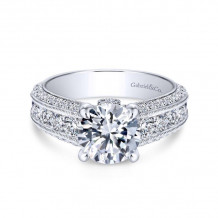 Gabriel & Co. 14k White Gold Victorian Straight Diamond Engagement Ring - ER8747W44JJ
