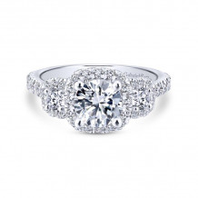 Gabriel & Co. 14k White Gold Entwined Halo Diamond Engagement Ring - ER12810R4W44JJ