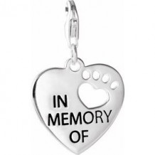 Sterling Silver Heart U Back In Memory Of Paw Charm