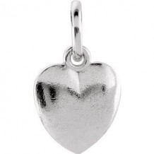 Sterling Silver 15.15x8.9 mm Puffed Heart Charm with Jump Ring
