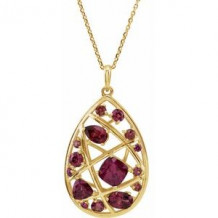 "14K Yellow Rhodolite Garnet Nest Design 18"" Necklace"