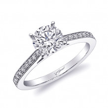 14k White Gold Coast Diamond 0.15ct Diamond Semi-Mount Fine Pave Milgrain Engagement Ring