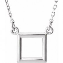 """Sterling Silver Square 16.5"""" Necklace"""