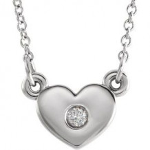 """Sterling Silver .03 CTW Diamond Heart 16"""" Necklace"""