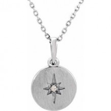 "Sterling Silver .01 CT Diamond Starburst 16-18"" Necklace"