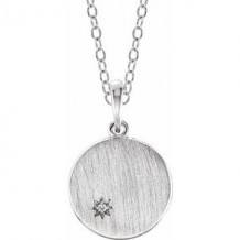 Sterling Silver .005 CT Diamond Engravable Necklace