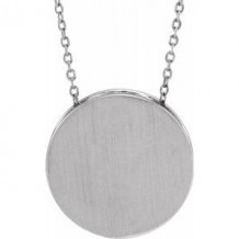 """Sterling Silver 17 mm Scroll Disc 16-18"""" Necklace"""